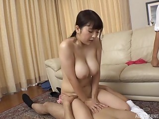 Gotou Rika agrees beside bourgeon with team a few guys while her tits bounce
