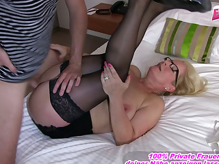 German gold instructor with high heels and stockings fucked