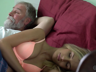OLD4K. Jenny Smart having sex with an old man with beard