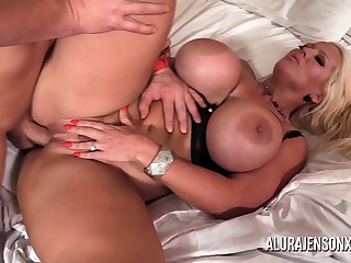 Big tit MILF Alura Jenson has their way miserly pussy impaled